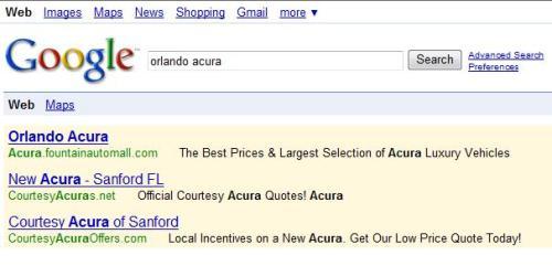 "Fountain Acura is #1 for ""Orlando Acura"" search!"